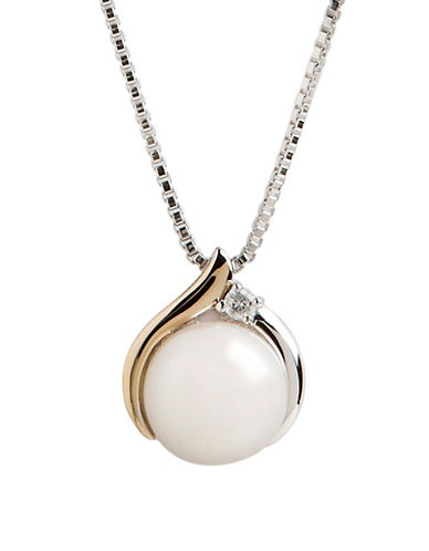 Fine Jewellery Sterling Silver 14K Yellow Gold Diamond And Pearl Pendant-WHITE-One Size