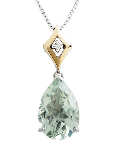 Fine Jewellery Sterling Silver  14K Yellow Gold  Diamond And Green Quartz Necklace-QUARTZ-One Size