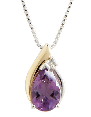 Fine Jewellery Diamond and Amethyst Pendant-AMETHYST-One Size
