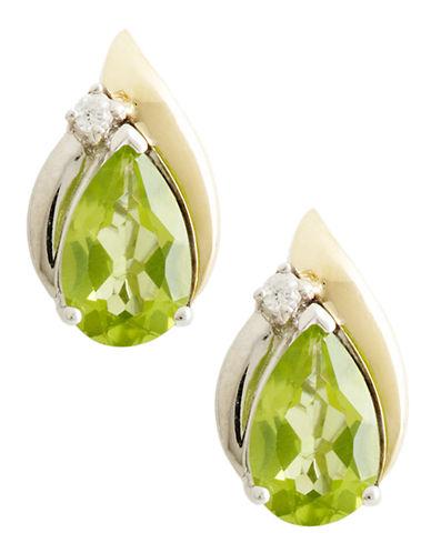 Fine Jewellery 14K Yellow Gold Sterling Silver Diamond And Peridot Earrings-GREEN PERIDOT-One Size