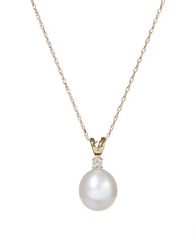 Fine Jewellery 10K Yellow Gold 8mm Pearl and Diamond Necklace-PEARL-One Size