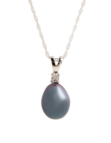 Fine Jewellery 10K White Gold Diamond And Grey Pearl Pendant-PEARL-One Size