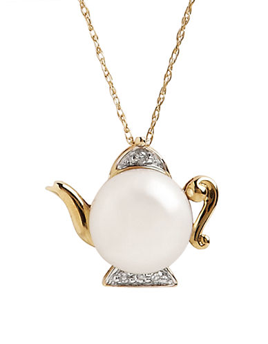Fine Jewellery 10K Yellow Gold Diamond And Pearl Teapot Pendant-GOLD-One Size