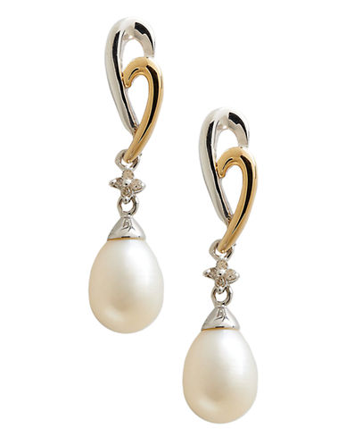 Fine Jewellery 14K Yellow Gold Sterling Silver Diamond And 8 to 6mm Pearl Earrings-PEARL-One Size