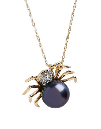 Fine Jewellery 10K Yellow Gold Diamond And Black Pearl Spider Pendant-BLACK PEARL-One Size