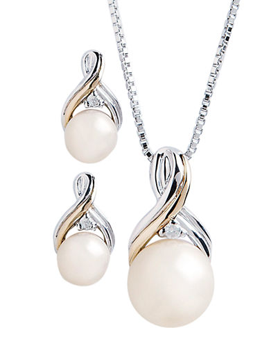 Fine Jewellery 14K Yellow Gold and Sterling Silver Diamond And Pearl Earring And Pendant Set-PEARL-One Size