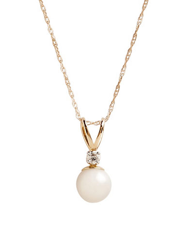 Fine Jewellery 10K Yellow Gold Diamond And Half Drill Pearl Pendant-PEARL-One Size