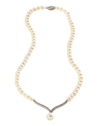 Fine Jewellery 10K White Gold Diamond And Pearl Necklace-PEARL-One Size
