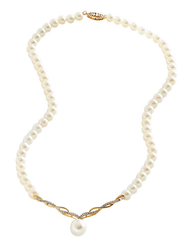 Fine Jewellery 10K White Gold Diamond And 10mm Pearl Strand Necklace-PEARL-One Size