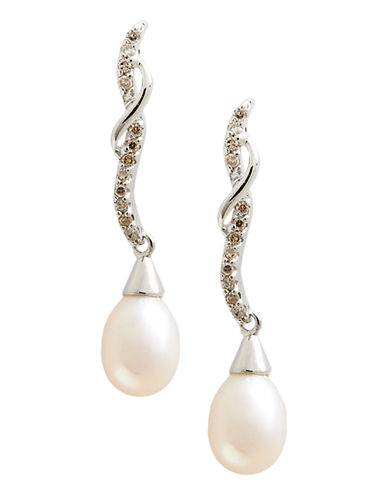 Fine Jewellery 10K White Gold Diamond And Half Drill 8 to 6mm Pearl Earrings-PEARL-One Size
