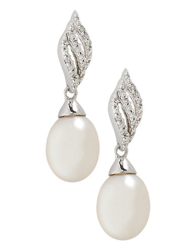 Fine Jewellery 10K White Gold Diamond And 9mm Pearl Earrings-PEARL-One Size