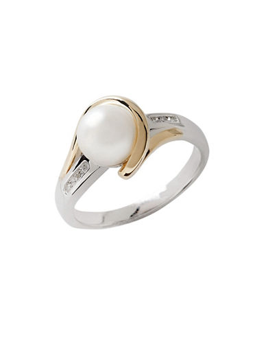 Fine Jewellery Sterling Silver  14K Yellow Gold  Diamond And 7mm Pearl Ring-GOLD/SILVER-7