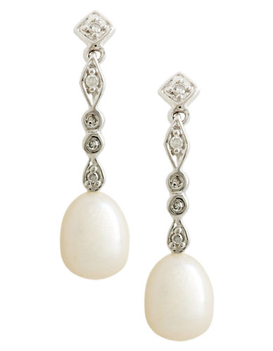 Fine Jewellery 10K White Gold Diamond Drop Pearl Earrings-PEARL-One Size