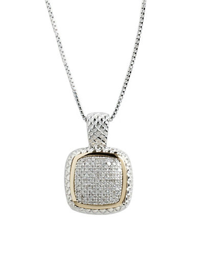 Fine Jewellery Sterling Silver  14K Yellow Gold  And Square Diamond Pave Pendant-DIAMOND-One Size