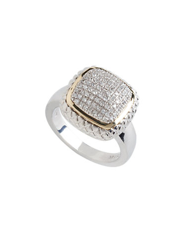 Fine Jewellery 14Kt Yellow Gold And Sterling Silver Square Pave Ring With 0.25Tw Diamonds-DIAMOND-7