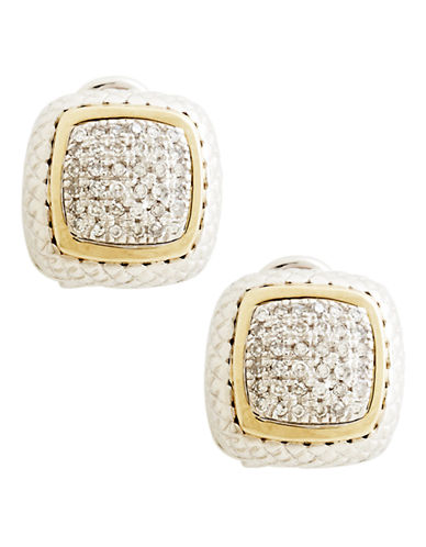 Fine Jewellery Sterling Silver 14K Yellow Gold And Diamond French Clip Earrings-DIAMOND-One Size