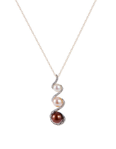 Fine Jewellery 10K Yellow Gold Necklace with Diamond and Pearl Pendant-PEARL-One Size