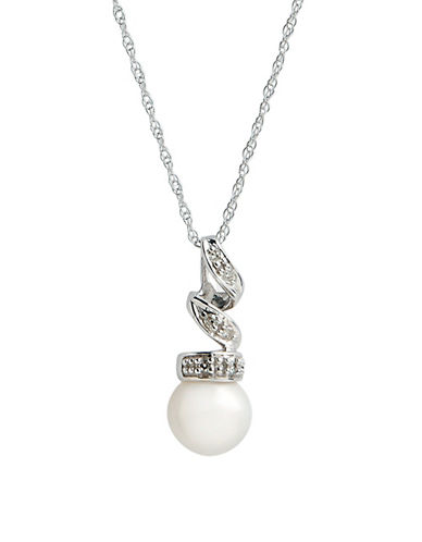 Fine Jewellery 10K White Gold Diamond And Pearl Pendant-PEARL-One Size