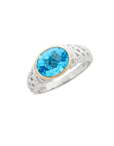 Fine Jewellery Sterling Silver  14K Yellow Gold And Blue Topaz Ring-TOPAZ-10 84418448_TOPAZ_10