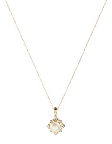 Fine Jewellery 10K Yellow Gold Pearl and Diamond Pendant Necklace-PEARL-One Size