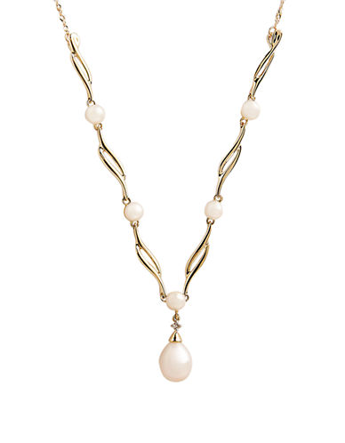 Fine Jewellery 10K Yellow Gold Diamond And Pearl Necklace-PEARL-One Size