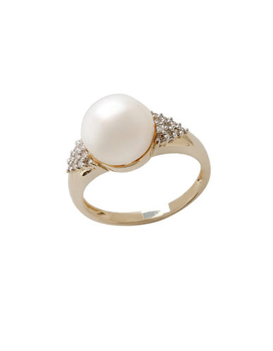 Fine Jewellery 10K Yellow Gold  Diamond And 10mm Pearl Ring-PEARL-7