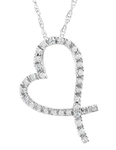 Fine Jewellery 10K White Gold Heart Pendant With 0 09Tw Diamonds-DIAMOND-One Size
