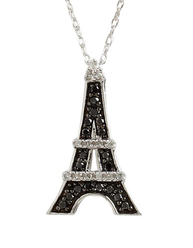 Fine Jewellery 10K White Gold  White And 0.21ct Black Diamond Eiffel Tower Pendant-BLACK-One Size