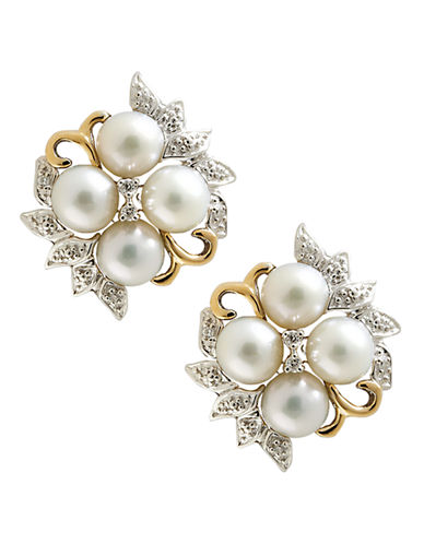 Fine Jewellery 14K Yellow Gold Sterling Silver Diamond And 6mm Pearl Earrings-WHITE-One Size