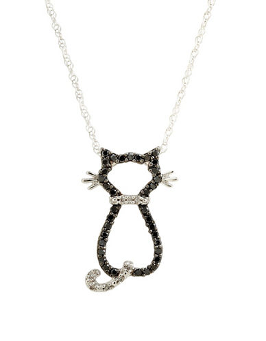 Fine Jewellery 10K White Gold  Black And White Diamond Cat Necklace-WHITE GOLD/BLACK AND WHITE DIAMOND-One Size