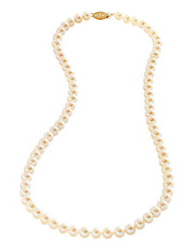 Fine Jewellery 14K Yellow Gold 6mm-6 55mm Freshwater Pearl Necklace-PEARL-One Size