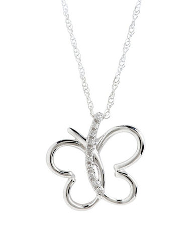 Fine Jewellery 10Kw Butterfly Pendant W/.03Ct Diamonds-10KW-One Size