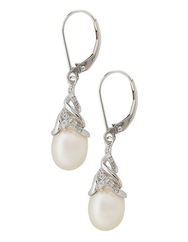 Fine Jewellery 10K White Gold Diamond And 10mm Pearl Earrings-WHITE GOLD-One Size