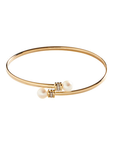 Fine Jewellery 10K Yellow Gold and Diamond Bangle-PEARL-One Size