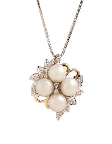 Fine Jewellery 14K Yellow Gold And Sterling Silver with Pearl and Diamond Pendant-PEARL-One Size