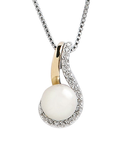 Fine Jewellery 14K Yellow Gold Diamond And Pearl Pendant-PEARL-One Size