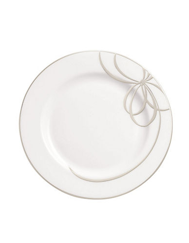 Kate Spade New York B Blvd Accent Plate-WHITE WITH PLATINUM-One Size