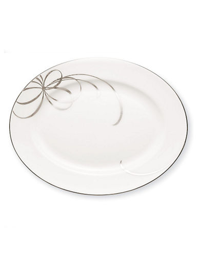 Kate Spade New York B Blvd Oval Platter-WHITE WITH PLATINUM-One Size