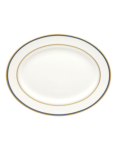 Kate Spade New York Library Lane Navy Oval Platter-WHITE-One Size