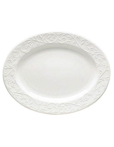 Lenox Opal Innocence Carved Oval Platter-WHITE-One Size