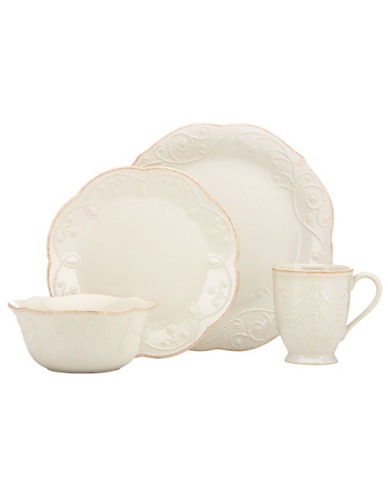 Lenox French Perle White 4 Piece Place Setting-WHITE-One Size