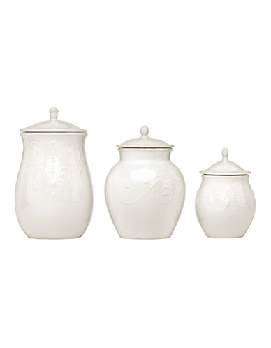 Lenox French Perle Cannister Set of 3-WHITE-One Size