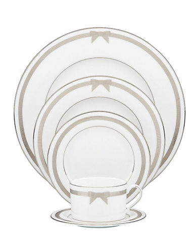 Kate Spade New York Grace Avenue 5 Piece Place Setting-WHITE/PLATINUM-One Size