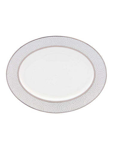 Lenox Pearl Beads Oval Platter-WHITE-One Size