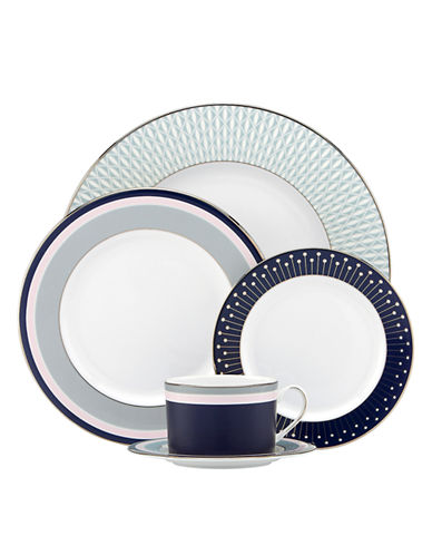 Kate Spade New York Mercer Drive 5 Piece Place Setting-WHITE/NAVY-One Size