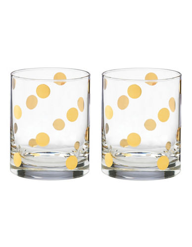 Kate Spade New York Set of Two Pearl Double Old Fashion Glasses-CLEAR-One Size