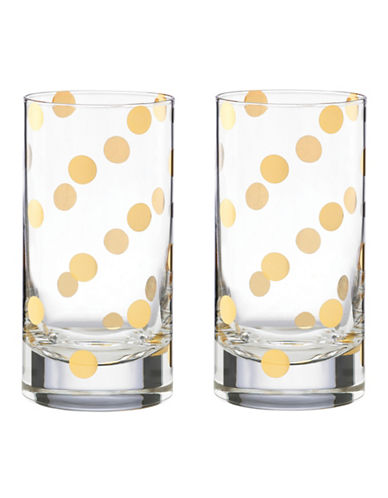 Kate Spade New York Set of Two Pearl Place Highball Glasses-CLEAR-One Size