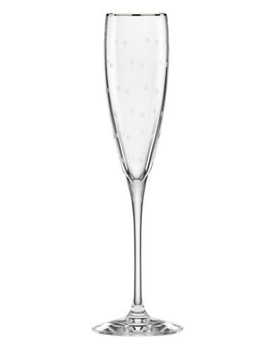 Kate Spade New York Larabee Dot Platinum Flute-CLEAR-One Size