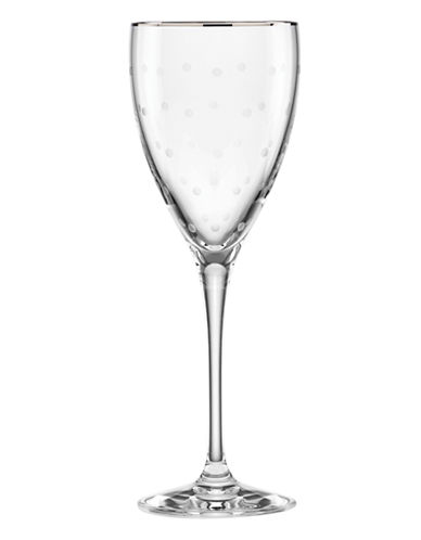 Kate Spade New York Larabee Dot Platinum Goblet-CLEAR-One Size