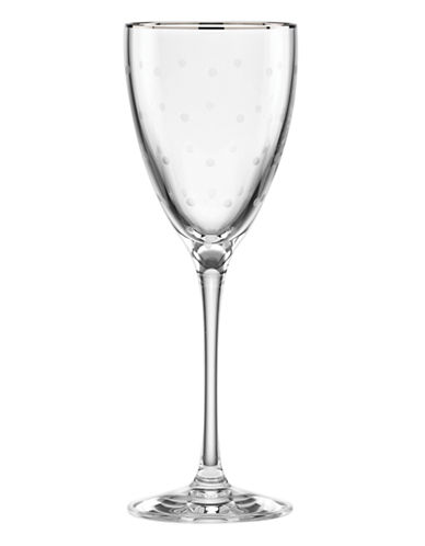 Kate Spade New York Larabee Dot Platinum Wine Glass-CLEAR-One Size